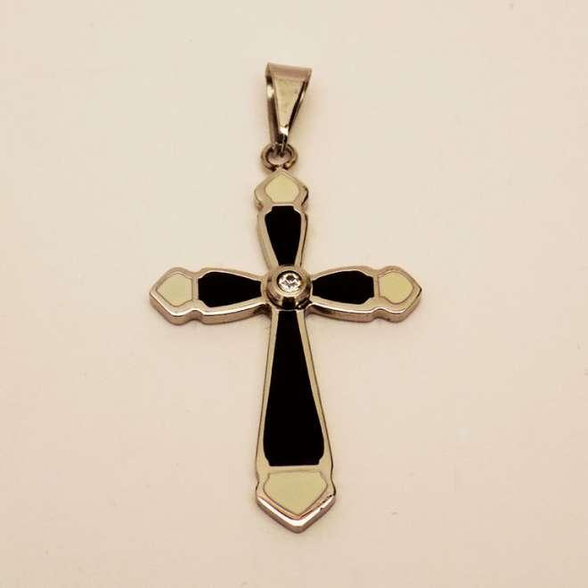 Ατσάλινος Σταυρός Μικρός Ασπρόμαυρος Ζιργκόν