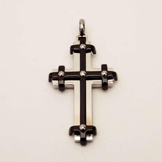Ατσάλινος Σταυρός Ανάγλυφος Με Μαύρη Επιμετάλλωση 2