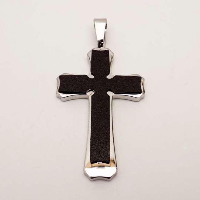 Ατσάλινος Σταυρός με Glitter Effect Μαύρος
