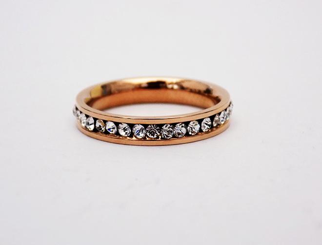 Δαχτυλίδι Βέρα Ατσάλινο Με Ζιργκόν Ροζ Επίχρυσο
