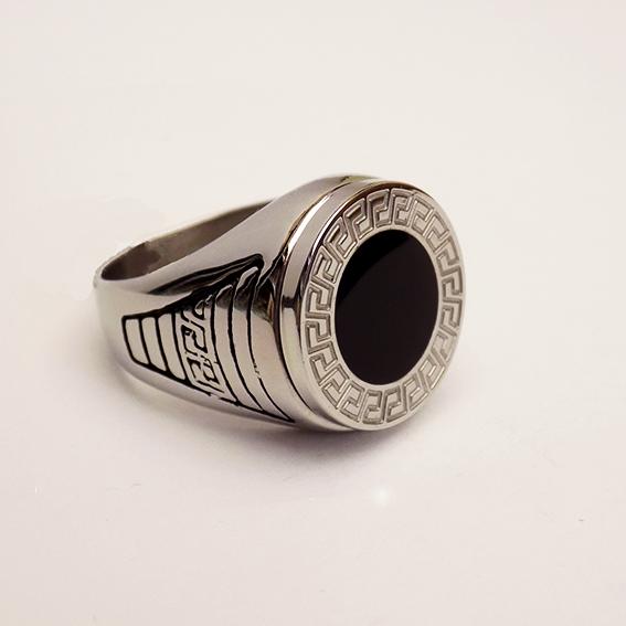 Ατσάλινο Δαχτυλίδι Με Μαύρο Κύκλο και Μαίανδρο