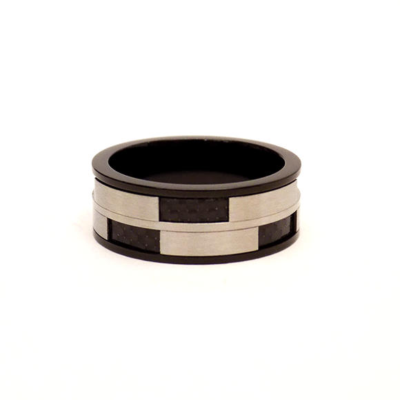 Δαχτυλίδι Με Μαύρα Ορθογώνια Ατσάλινο